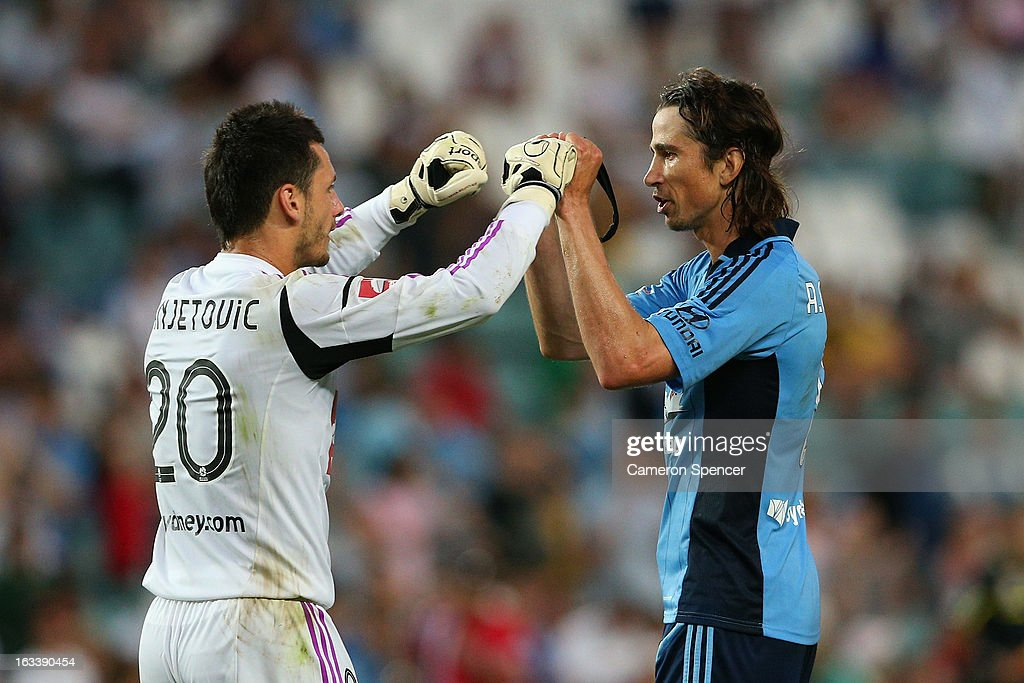 Vedran Jajetovic and Adam Griffiths of Sydney FC celebrate winning the round 24 A-League match between Sydney FC and the Central Coast Mariners at Allianz Stadium on March 9, 2013 in Sydney, Australia.