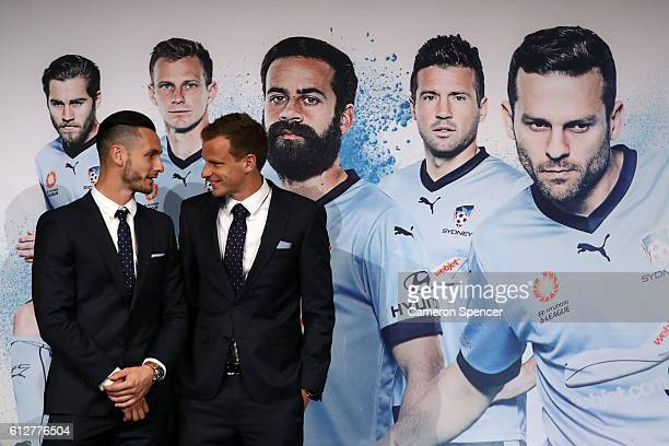 Vedran Janjetovic and Alex Wilkinson of Sydney FC are introduced on stage during the Sydney FC ALeague season launch at Westin Hotel on October 5...