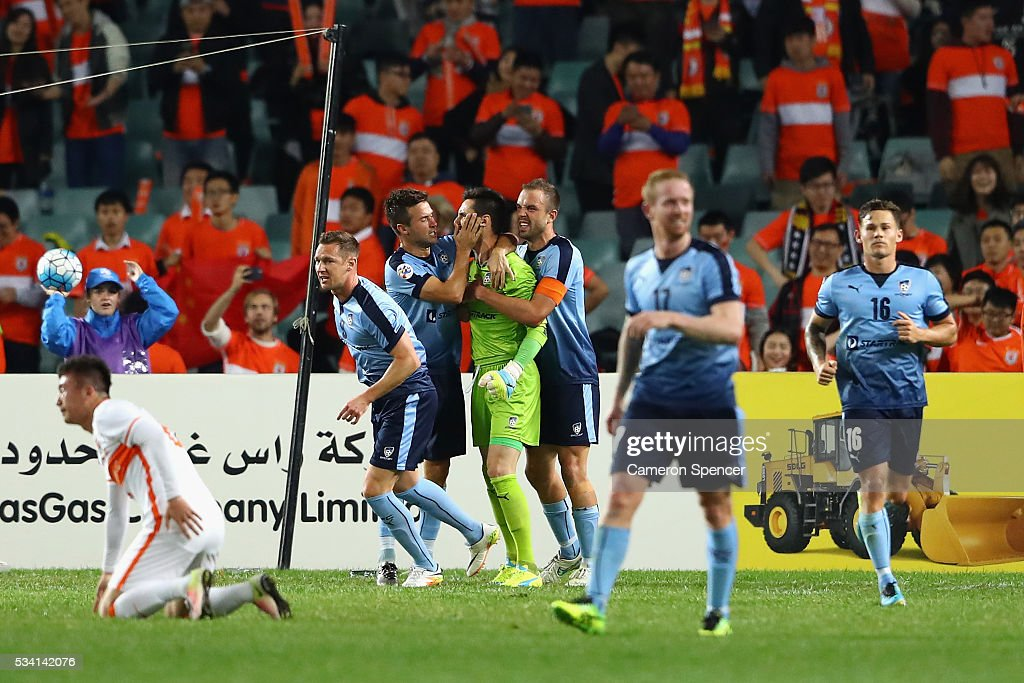 Vedran Janjetovic of Sydney FC celebrates saving a penalty during the AFC Asian Champions League match between Sydney FC and Shandong Luneng at Allianz Stadium on May 25, 2016 in Sydney, Australia.
