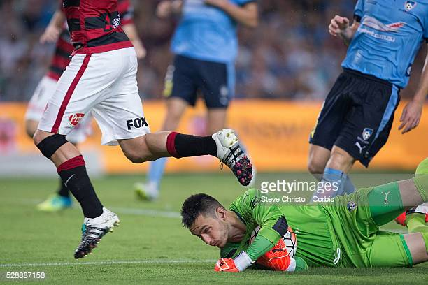 Vedran Janjetovic of Sydney FC in action during the round 20 ALeague match between Sydney FC and Western Sydney Wanderers at Allianz Stadium in...