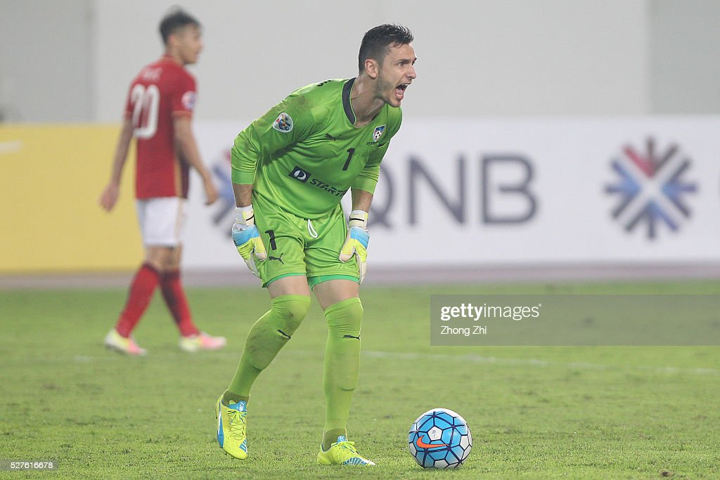 Vedran Janjetovic of Sydney FC reacts during the AFC Asian Champions League match between Guangzhou Evergrande FC and Sydney FC at Tianhe Stadium on May 3, 2016 in Guangzhou, China.