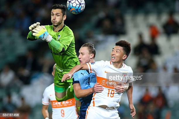 Vedran Janjetovic of Sydney FC saves a penalty during AFC Champions League match between Sydney and Shandong Luneng at Allianz Stadium on May 25 2016...