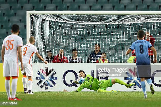 Vedran Janjetovic of Sydney FC saves a penalty during the AFC Asian Champions League match between Sydney FC and Shandong Luneng at Allianz Stadium...