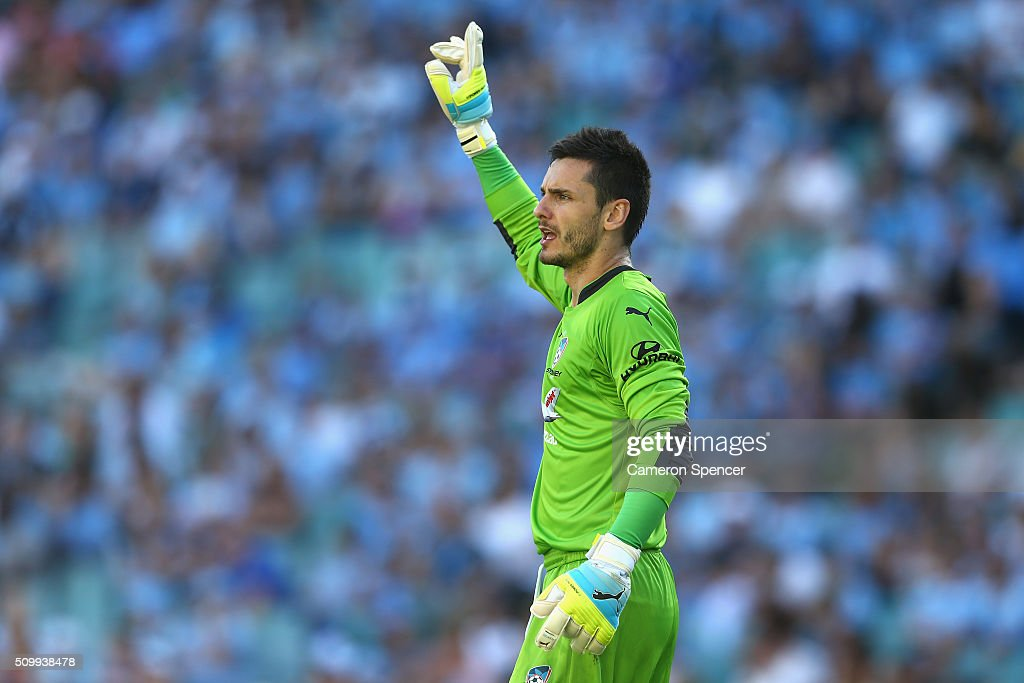 Vedran Janjetovic of Sydney FC signals to team mates during the round 19 A-League match between Sydney FC and the Perth Glory at Allianz Stadium on February 13, 2016 in Sydney, Australia.