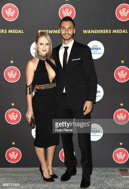 Vedran Janjetovic of the Wanderers and partner Jana Tomka arrives ahead of the Western Sydney Wanderers Medal Night at the International Convention...