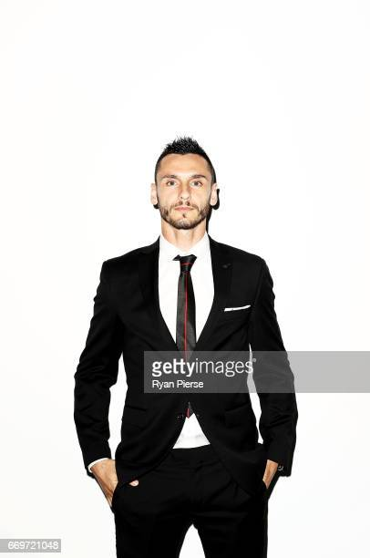 Vedran Janjetovic of the Wanderers arrives ahead of the Western Sydney Wanderers Medal Night at the International Convention Centre on April 18 2017...