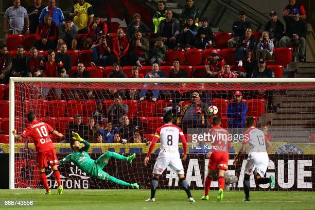 Vedran Janjetovic of the Wanderers fails to save a penalty shot by Marcelo Carrusca of Adelaide during the round 27 ALeague match between Adelaide...