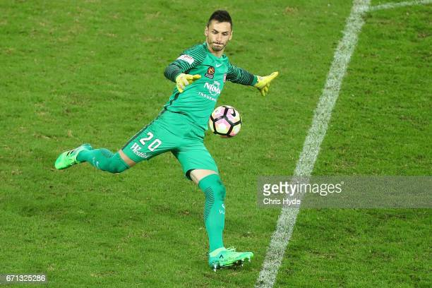 Vedran Janjetovic of the Wanderers kicks during the ALeague Elimination Final match between the Brisbane Roar and the Western Sydney Wanderers at...