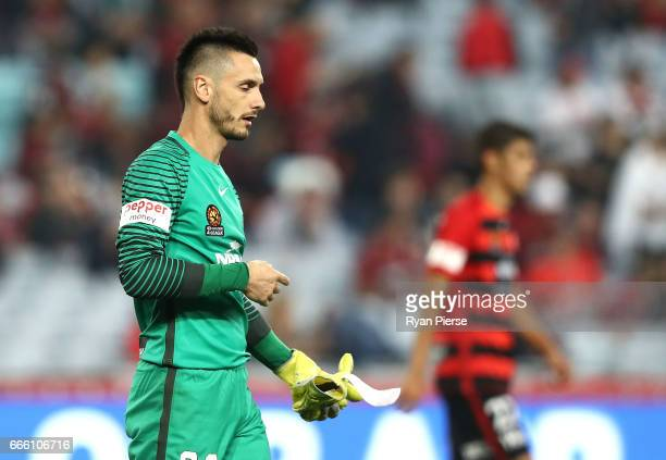 Vedran Janjetovic of the Wanderers looks dejected after the round 26 ALeague match between the Western Sydney Wanderers and the Melbourne Victory at...