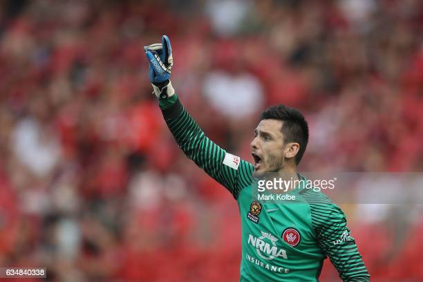 Vedran Janjetovic of the Wanderers shouts instructions to his team mates during the round 19 ALeague match between the Western Sydney Wanderers and...