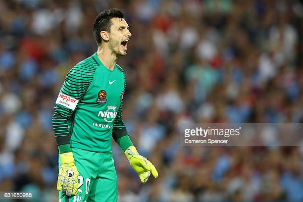 Vedran Janjetovic of the Wanderers shouts to team mates during the round 15 ALeague match between Sydney FC and the Western Sydney Wanderers at...