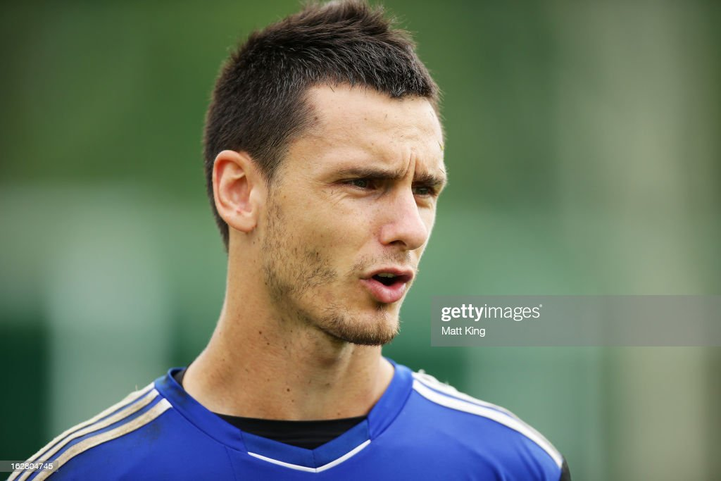 Vedran Janjetovic speaks to the media during a Sydney FC A-League training session at Macquarie Uni on February 28, 2013 in Sydney, Australia.