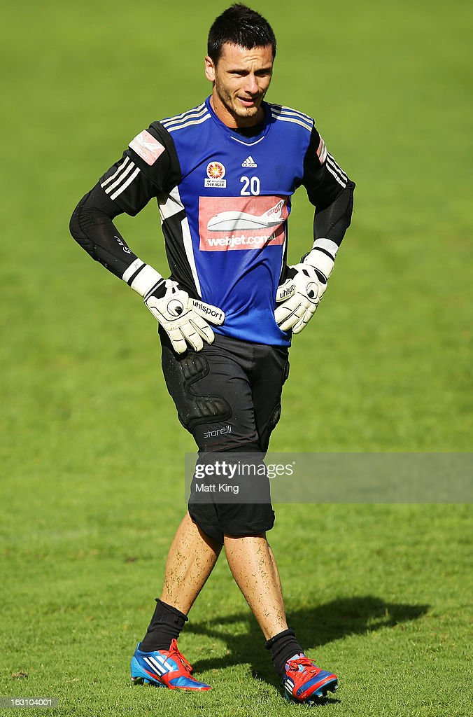Vedran Janjetovic takes a break during a Sydney FC A-League training session at Macquarie Uni on March 5, 2013 in Sydney, Australia.