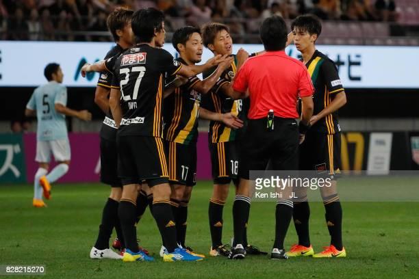 Vegalta Sendai players appeal to referee Kenji Ogiya during the JLeague J1 match between Vegalta Sendai and Jubilo Iwata at Yurtec Stadium Sendai on...