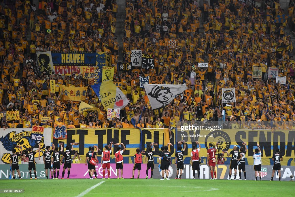 Vegalta Sendai players applaud supporters after their 1-0 victory in the J.League J1 match between Vegalta Sendai and Sanfrecce Hiroshima at Yurtex Stadium Sendai on August 13, 2017 in Sendai, Miyagi, Japan.