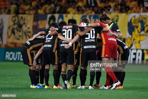 Vegalta Sendai players huddle during the JLeague J1 match between Vegalta Sendai and Jubilo Iwata at Yurtec Stadium Sendai on August 9 2017 in Sendai...