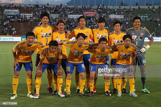 Vegalta Sendai players line up for the team photos prior to the JLeague match between Ventforet Kofu and Vegalta Sendai at Yamanashi Chuo Bank...