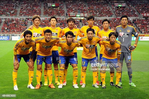 Vegalta Sendai players line up for the team photos prior to the JLeague match between Urawa Red Diamonds and Vegalta Sendai at Saitama Stadium on...