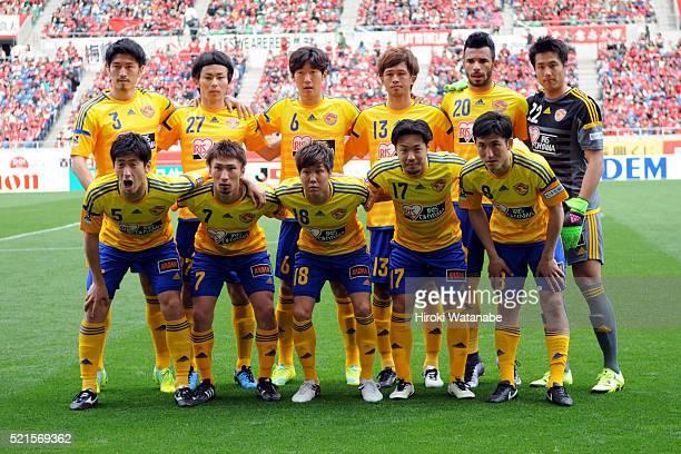 Vegalta Sendai players line up for the team photos prior to the JLeague match between Urawa Red Diamonds and Vegalta Sendai at the Saitama Stadium on...