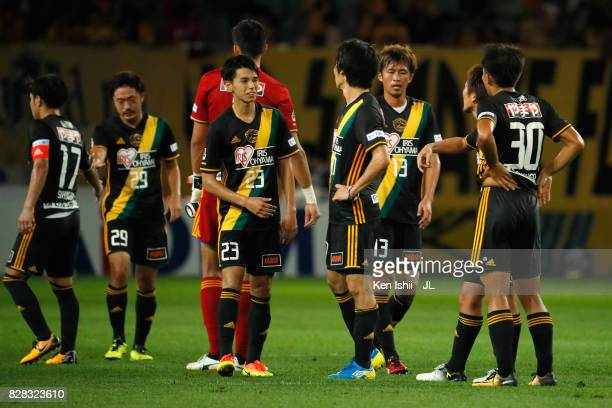 Vegalta Sendai players react after the scoreless draw in the JLeague J1 match between Vegalta Sendai and Jubilo Iwata at Yurtec Stadium Sendai on...