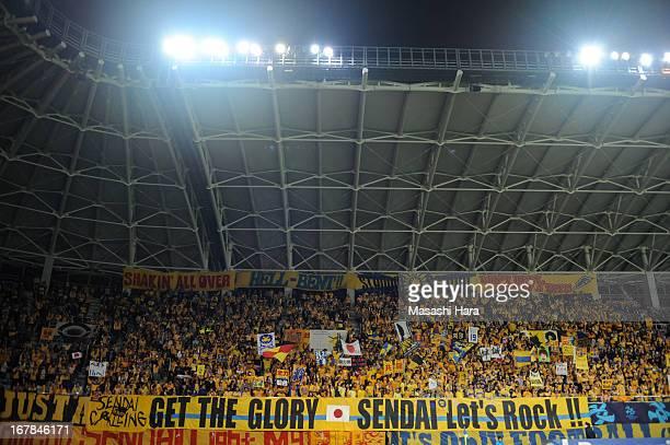 Vegalta Sendai supporters cheer during the AFC Champions League Group E match between Vegalta Sendai and Jiangsu Sainty at Sendai Stadium on May 1...