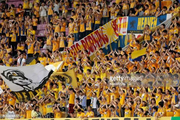 Vegalta Sendai supporters cheer prior to the JLeague J1 match between Vegalta Sendai and Gamba Osaka at Yurtec Stadium Sendai on July 1 2017 in...