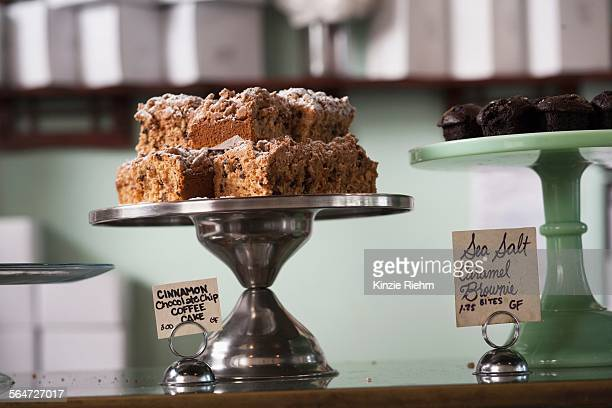 Vegan, allergy-friendly cakes on cakestand