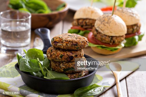 Vegan burgers with beans and vegetables : Stock Photo