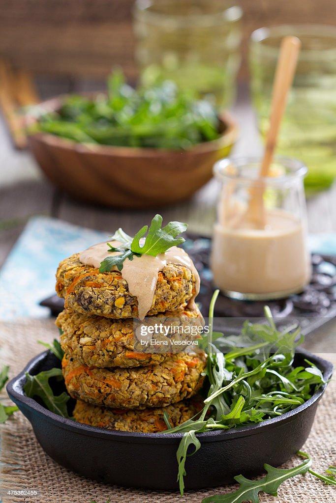 Vegan burgers with sweet potato and chickpeas : Stock Photo