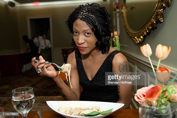 Vegan celebrity activist Suzanne 'Africa' Engo dines on a Thai noodle salad with coconut milk cilantro green papaya and spiced cashews the fourth...