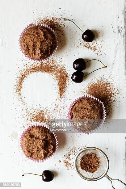 Vegan chocolate muffins with cherries, sugar-free and full-value