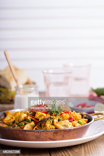 Vegan curry with tofu and vegetables : Stock Photo