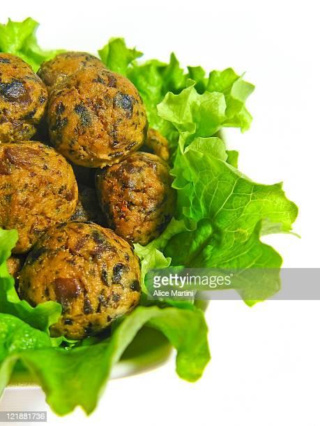 Vegan meatballs with tofu and mushrooms