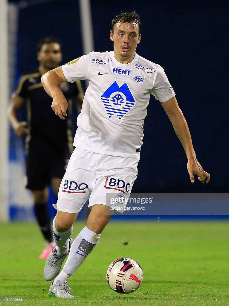 Vegard Forren of FC Molde in action during the UEFA Champions League Third Qualifying Round 1st Leg match between FC Dinamo Zagreb and FC Molde at...