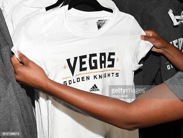 Vegas Golden Knights apparel is displayed after being announced as the name for the Las Vegas NHL franchise at TMobile Arena on November 22 2016 in...