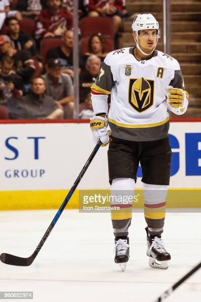 Vegas Golden Knights defenseman Luca Sbisa sets up for the face off during the NHL hockey game between the Vegas Golden Knights and the Arizona...