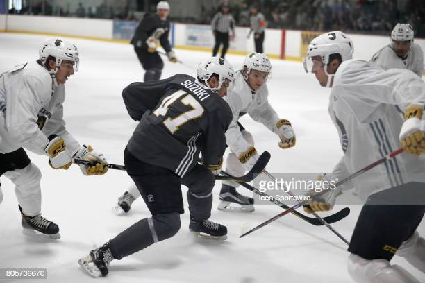 Vegas Golden Knights Forward Nick Suzuki drives through the defense during a joint scrimmage at the Vegas Golden Knights Development Camp on July 1...