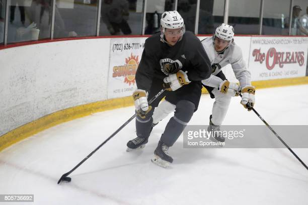Vegas Golden Knights Forward Nick Suzuki looks to shoot during a joint scrimmage at the Vegas Golden Knights Development Camp on July 1 2017 at the...