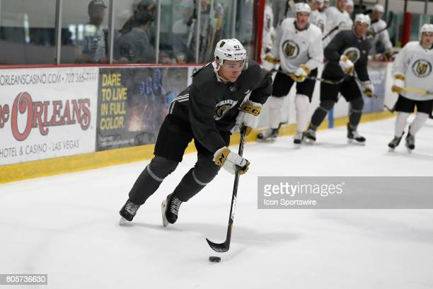 Vegas Golden Knights Forward Nick Suzuki skates with the puck during a joint scrimmage at the Vegas Golden Knights Development Camp on July 1 2017 at...