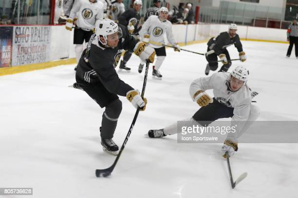 Vegas Golden Knights Forward Nick Suzuki takes a shot during a joint scrimmage at the Vegas Golden Knights Development Camp on July 1 2017 at the Las...