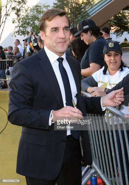 Vegas Golden Knights general manager George McPhee arrives at the team's inaugural regularseason home opener against the Arizona Coyotes at TMobile...