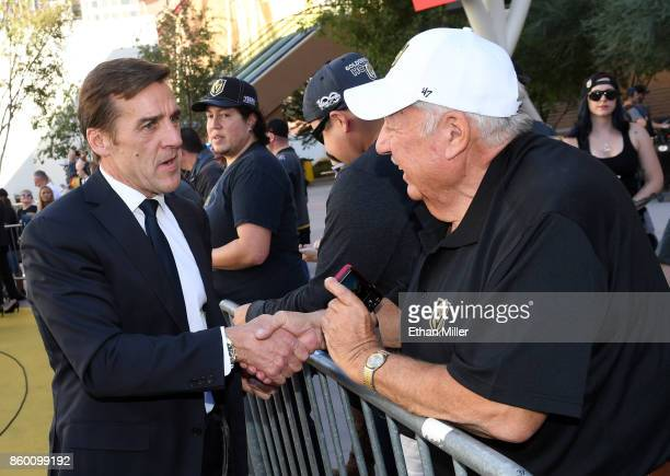 Vegas Golden Knights general manager George McPhee greets fans as he arrives at the team's inaugural regularseason home opener against the Arizona...