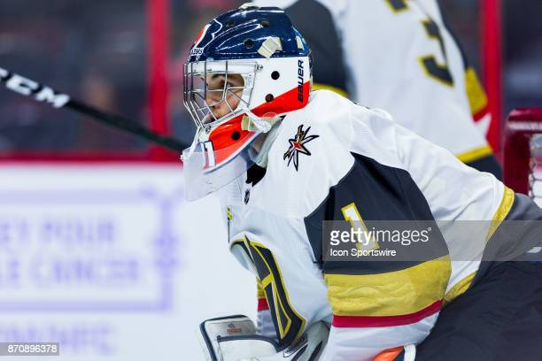 Vegas Golden Knights Goalie Dylan Ferguson participates in drills during warmup before National Hockey League action between the Vegas Golden Knights...
