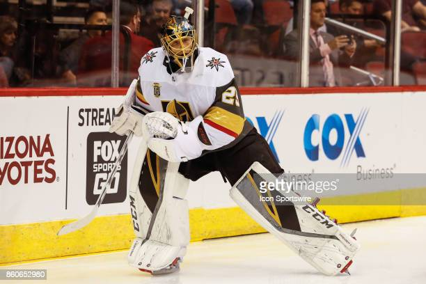 Vegas Golden Knights goalie MarcAndre Fleury warms up before the NHL hockey game between the Vegas Golden Knights and the Arizona Coyotes on October...