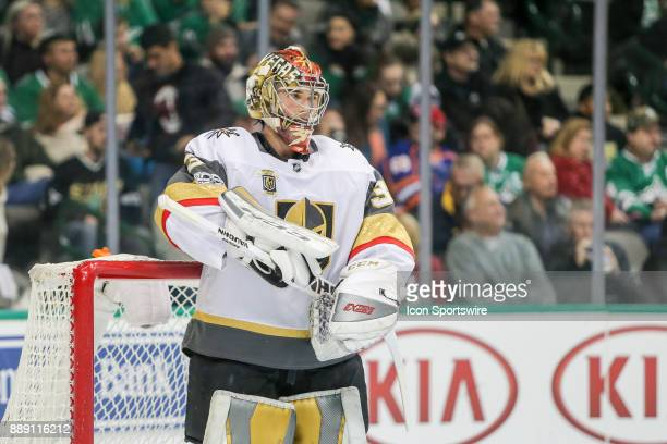 Vegas Golden Knights Goalie Maxime Lagace takes a break during the game between the Dallas Stars and Vegas Golden Knights on December 9 2017 at the...