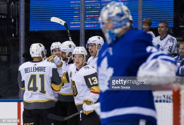 Vegas Golden Knights left wing Brendan Leipsic celebrates a Vegas Golden Knights goal against the Toronto Maple Leafs during the third period at the...