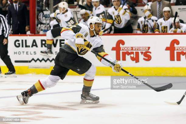 Vegas Golden Knights left wing PierreEdouard Bellemare takes a shot during the NHL hockey game between the Vegas Golden Knights and the Arizona...