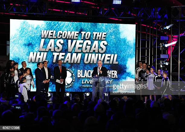 Vegas Golden Knights team owner Bill Foley speaks during the Las Vegas NHL team name Unveiling ceremony on November 22 at The Park at TMobile Arena...