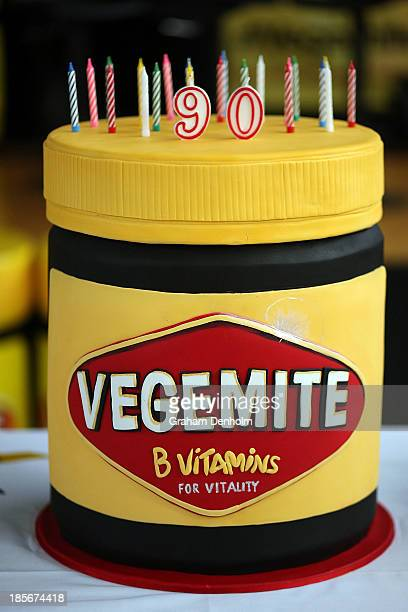 Vegemite birthday cake is seen during a press call to celebrate the Vegemite brand's 90th year at the Vegemite factory on October 24 2013 in...