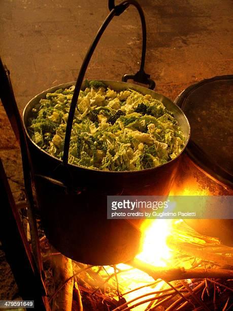 vegetable cauldron on fire